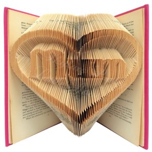 Mum In Heart Family Folded Book Art - Version 1