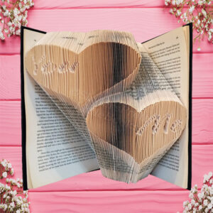You & Me Hearts Folded Book Art